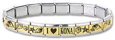 Italian Charm Bracelets Stainless Steel Gold Link Sea Shell Modular I Heart Kona