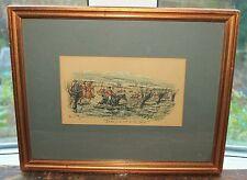 "Original Watercolour George Finch Mason  "" Rode full tilt at the Brook "" Hunting"