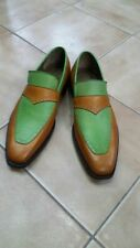 Handmade Men's Brown And Green Leather Loafer Shoes