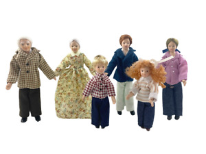 Dolls House Family of 6 People Miniature 1:12 Modern Porcelain Figures