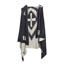 Premium Reversible Geometric Cross Kimono Vest Cardigan Poncho Sweater Top