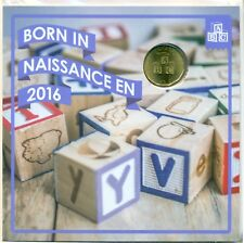 Born in 2016 Baby Gift Coin Set With Struck $1 Loonie ABC Blocks