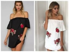 Womens Summer Loose Casual Off Shoulder Long Tops Blouse Ladies Mini Shirt Dress