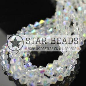 FACETED BICONE CRYSTAL GLASS BEADS CLEAR AB 4MM/ 5MM/ 6MM