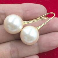 16MM pink HUGE baroque shell pearl earrings 18K hook DIY jewelry Mesmerizing