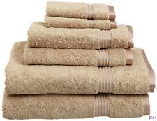 6-pc Taupe Superior 600 GSM Combed Cotton Towel, Hand Towel, Washcloth Set