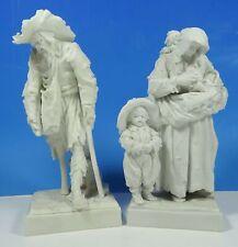 More details for eckert volkstedt blanc de chine porcelain pair of figurines depicting peasants