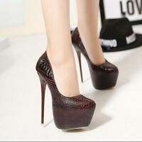 Womens Snakeleather Stilettos High Heel Pumps Shoes Platform Tound Toe Clubwear
