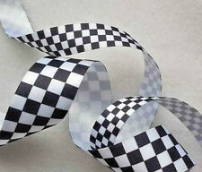 15mm  25mm x 1m Satin Ribbon Black & White Check Chequered Motor Racing  Police