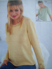 Ladies SUMMER TOP TUNIC JUMPER KNITTING PATTERN cotton DK & 4 ply 30 - 42 inch