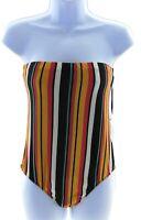 Ellie & Kate Juniors Strapless Multi Color Stripe Bodysuit Size Large