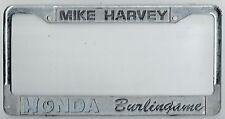 Burlingame California Mike Harvey JDM Honda Vintage Dealer License Plate Frame