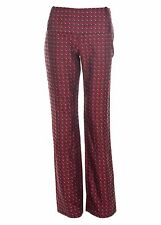 Patrizia Pepe Bordeaux Satin Patterned Straight Leg Pants Size 44 NEW