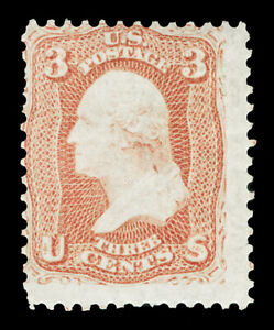 Scott 65 1861 3c Rose Washington Issue Unused Fine NG Cat $50