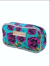 Betsey Johnson Denim Rose Flower Japanese Magazine Make Up Cosmetic Travel Bag
