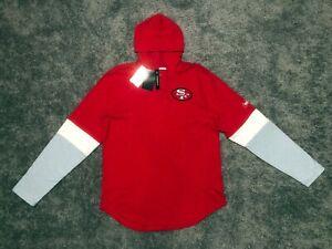 Men's Nike San Francisco 49ers Henley Long Sleeve Hoody T-shirt sz L authentic