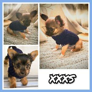 XXXS Tiny Puppy Size Knit Coat Pet Chihuahua Clothes Dog Navy Colour Jumper Navy