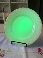 "Vintage Custard Uranium Glass Plate, 8 3/4"""