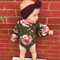 2Pc Baby Girls Flower Toddler Long Sleeve Jumpsuit Romper+Headband Set Clothes