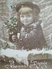 cpa enfant bonne année postcard antique new year childcartolina bambina gui girl