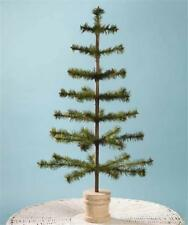"""Bethany Lowe 30"""" Olive Green Feather Christmas Tree, Spool Base"""