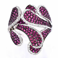 Ruby And Diamond Edgy Coctail Ring In 18K White Gold 2.06Ct Total Weight, Size:7