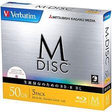 5 Verbatim M-DISC Blank Blu-ray Discs 50GB BD-R DL 6x bluray 100 years Archival