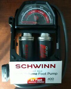 🔷New- Schwinn Gust Max High Volume Foot Pump 100 Max psi bike air tire pump