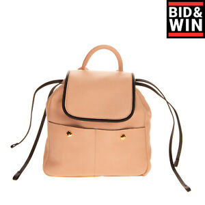RRP €1425 MARNI Leather Flap Backpack Grainy Panel Drawstring Made in Italy