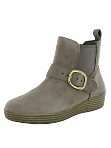 Fitflop Womens Superbuckle Chelsea Leather Boot Shoes, Desert Stone, US 8.5