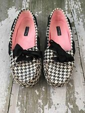 Women's 7.5 Sperry Top Sider Black and White Sequin Houndstooth Shoes