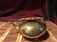 "Vintage Brass Teapot Planter w/ Wood Handle Etched Design 7""x6 1/4"""