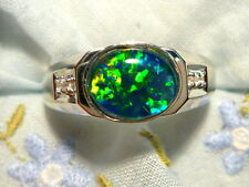 Mens Opal Ring Sterling Silver, Natural Opal Triplet. 10x8mm Oval . item 80667.