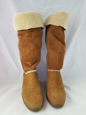 Authentic Women's Brown UGG BOOTS Ladies 9 Leather Suede Heel Sheepskin F8007E