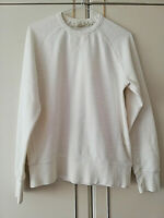 H&M WOMENS WHITE BLOUSE TOP SIZE 12 SMALL LONG SLEEVE 100% COTTON PIT TO PIT 18
