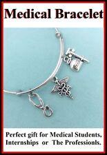 (Physician Assistant) PA CADUCEUS & Medical charms Expendable Bangle Bracelet.