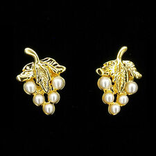 Fruits Costume Jewelry White Pearl New 18K Gold Plated Earrings Pairs Stud Grape