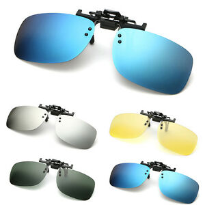 Polarized Clip On Flip Up Sunglasses Mirrored Clip for Myopia Glasses Driving