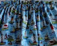 Valance Lighthouses and Sailboats on Blue Background Window Treatment Topper