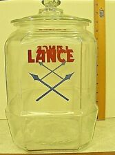 "Lance Cookie Jar 1930/1940's Large Jar Glass Lid 10"" Tall  9"" Square"