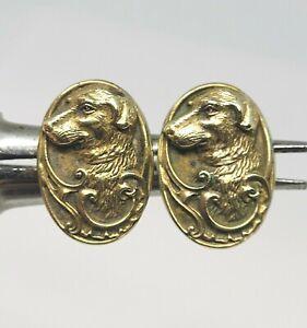 ANTIQUE Art Nouveau MM Co. Gold Filled REPOUSSE BORDER COLLIE Cufflinks