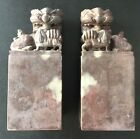 A Pair of Chinese Carved SoapStone Foo Dog Figurines