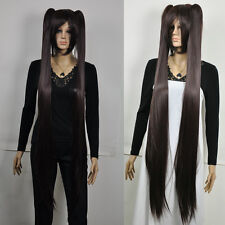 Extra long dark smoky Brown straight two ponytail fancy-dress party full wig