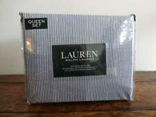 RALPH LAUREN Menswear Denim BLUE White STRIPE XDP QUEEN SHEET Set 4PC