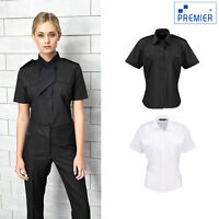 Premier Women's Short Sleeve Pilot Blouse (PR312) - Workwear Security Shirt