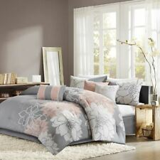 Luxury 7pc Grey White & Blush Pink Floral Comforter Set AND Decorative Pillows