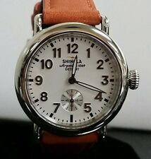 Shinola Runwell Original 36mm Watch White Dial Leather Strap Orange Reg $550 NEW
