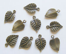10 Metal Antique Bronze Leaf Charms - 21mm x 13mm