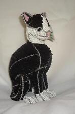 Beadworx Glass Beads Nwt Beaded Black & White Sitting Tuxedo Cat Sherman Retired