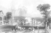 UTICA NEW YORK Genesee Street Tower ~ Antique 1838 Landscape Art Print Engraving